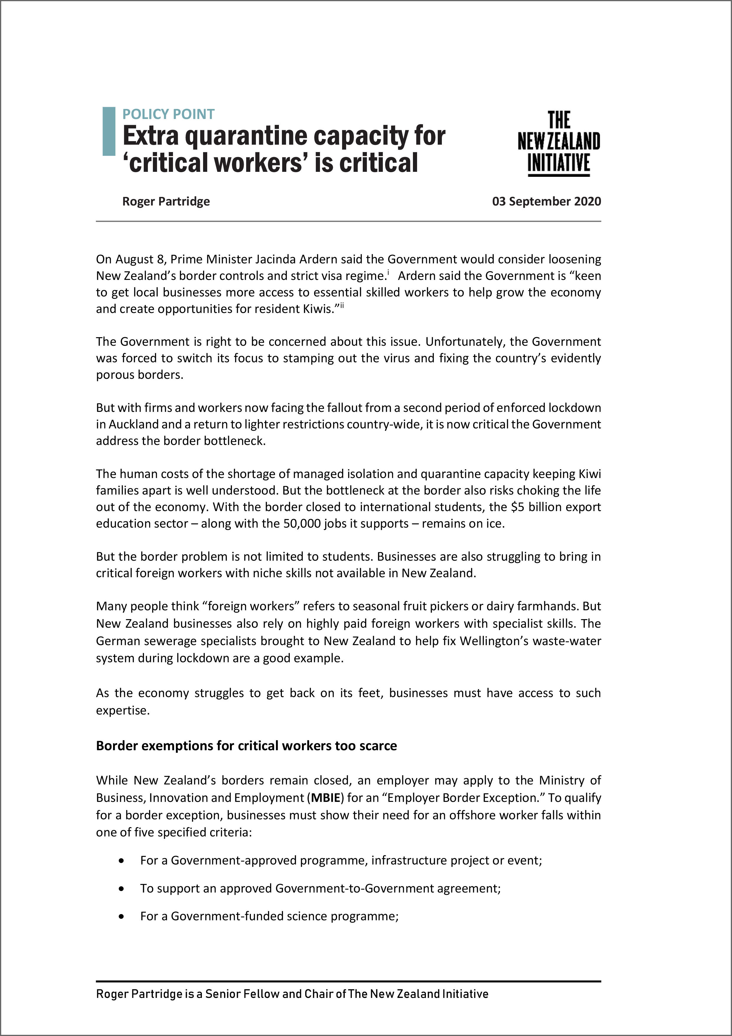 Policy point Extra quarantine capacity for critical workers is critical2