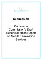 Submission Commerce Commissions draft Mobile Termination services cover