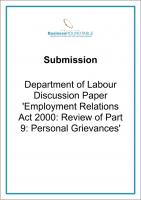 Submission Dept of Labour Employment Relations Act 2000 cover