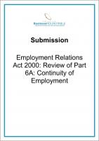 Submission Employment Relations Act 2000 Review of Part 6A cover