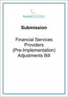 Submission Financial Services Providers Pre implementation Adjustment cover