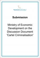 Submission Ministry of Economic Development on the Discussion Document Cartel Criminalisation